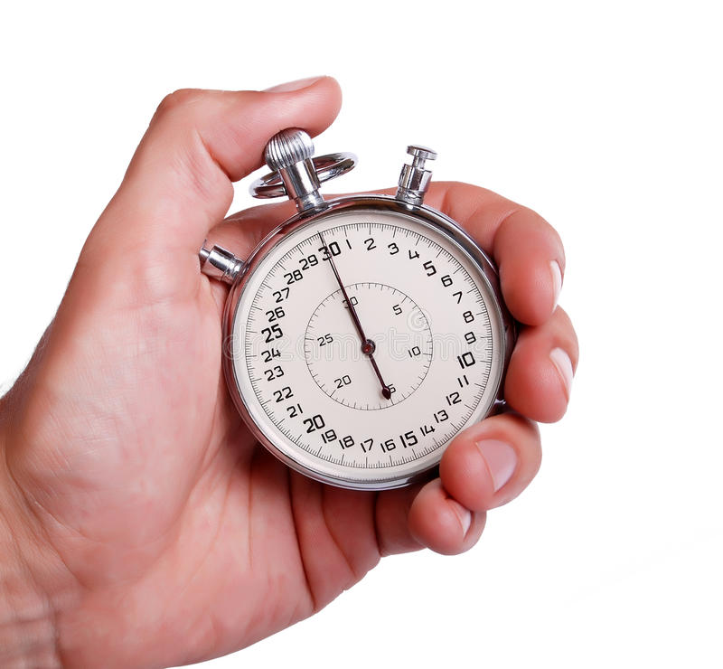Mens Hand With Stopwatch Stock Photo