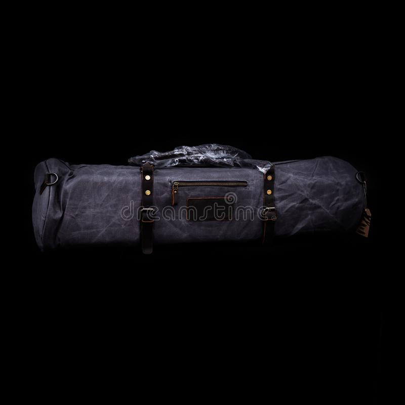 Men`s handbag backpack isolated on black background Sports bag. Men`s handbag backpack isolated on black background Sports bag royalty free stock photos
