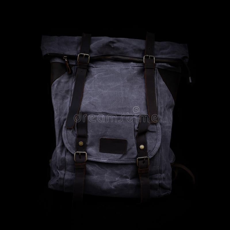 Men`s handbag backpack isolated on black background Sports bag. Men`s handbag backpack isolated on black background Sports bag stock photos