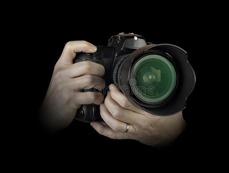 Men's hands held camera closeup royalty free stock image
