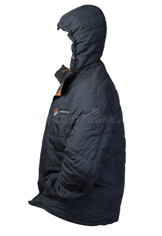 Men`s jacket in a hood isolated on a white background. Windbreaker jacket front view. Men`s blue  jacket in a hood isolated on a white background. Windbreaker stock photo