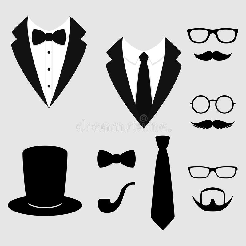 Men`s jackets. Tuxedo with mustaches, glasses, beard, pipe and top hat. Weddind suits with bow tie and with necktie. Vector icon. stock illustration
