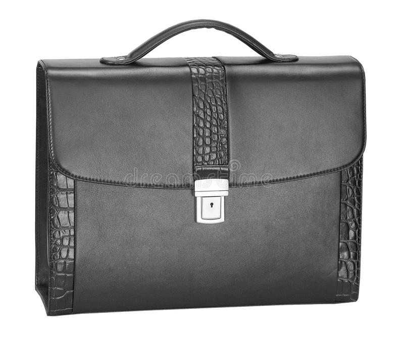 Men's leather crocodile briefcase royalty free stock photo