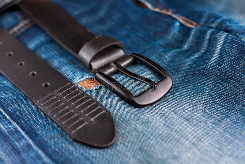 Mens Leather Jeans Pants trouser Premium Quality Plain Leather Black free belt