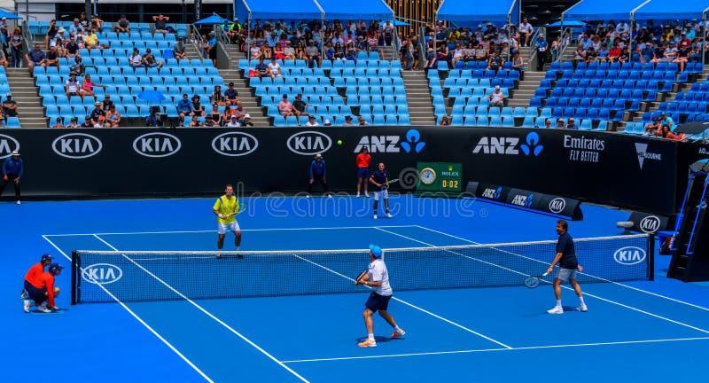 Men`s legends tennis match, Australian open 2019 stock photos