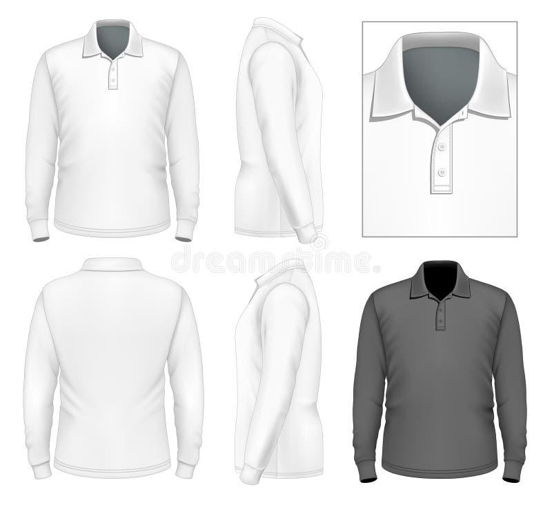 Men's long sleeve polo-shirt design template vector illustration