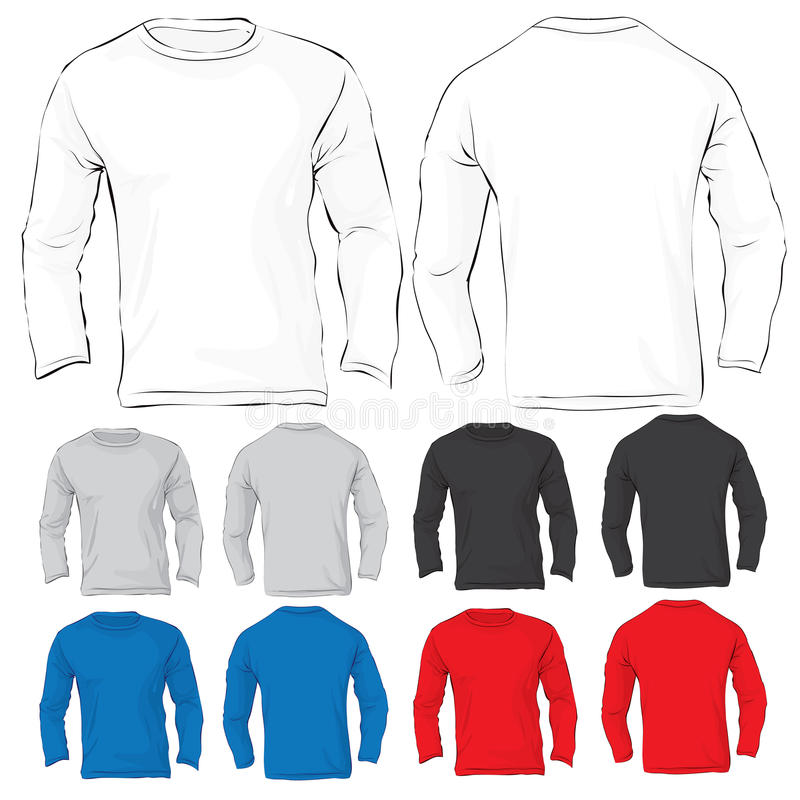 Men's Long Sleeved T-Shirt Template In Many Color Stock