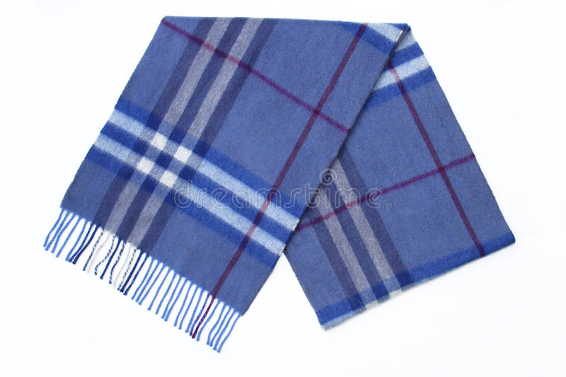 Men's Men Wool Blue Plaid Scarf. With trim isolated on a white background royalty free stock photography