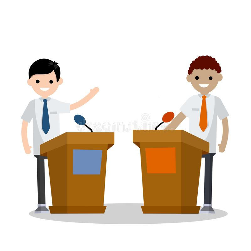 Cartoon flat illustration - two guys in the stands discussion. Men`s political debate. guys in shirt. state elections. Discussion of multicultural important vector illustration