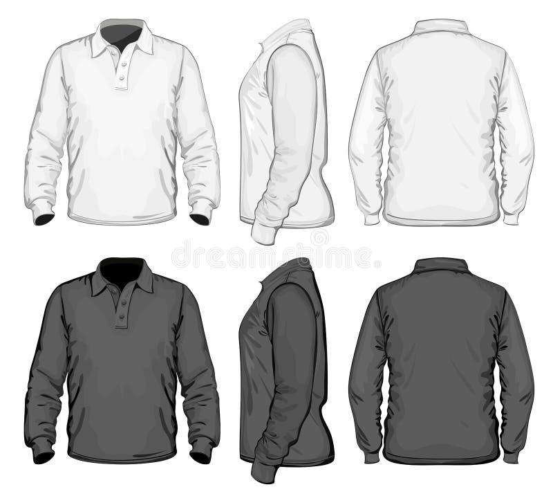 Men's polo-shirt design template. Long sleeve vector illustration