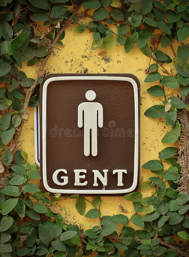 Men`s room sign, detail of an information signal, wc for gentlemen royalty free stock photos