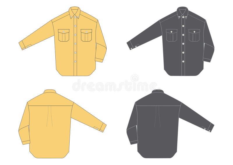 Men's shirt, long sleeve stock illustration