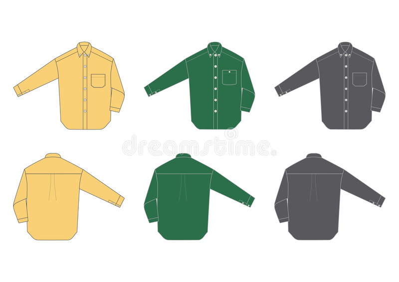 Men's shirt, long sleeve. Three different colours, front and back view vector illustration
