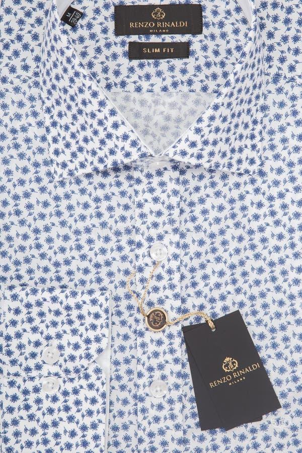 Men`s shirt in packing close-up macro top view stock photo