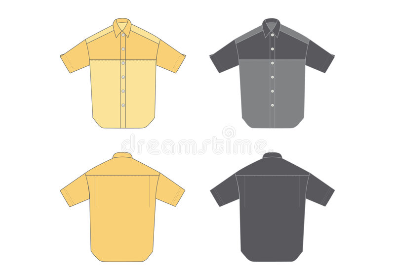 Men's shirt, short sleeve. Two different colours, two shades on each, front and back view royalty free illustration