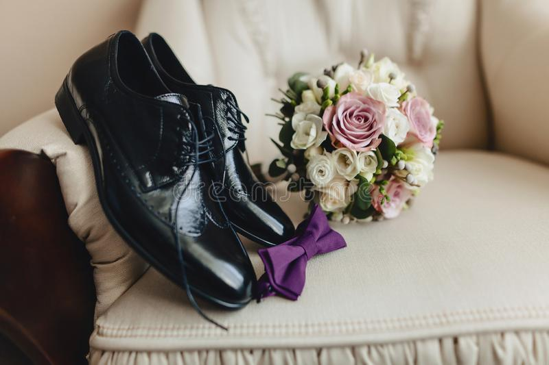 Men`s shoes and elegant clothes, holiday theme and wedding royalty free stock images