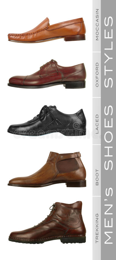 Men's Shoes Styles. Group of different styles of men's shoes royalty free stock photos