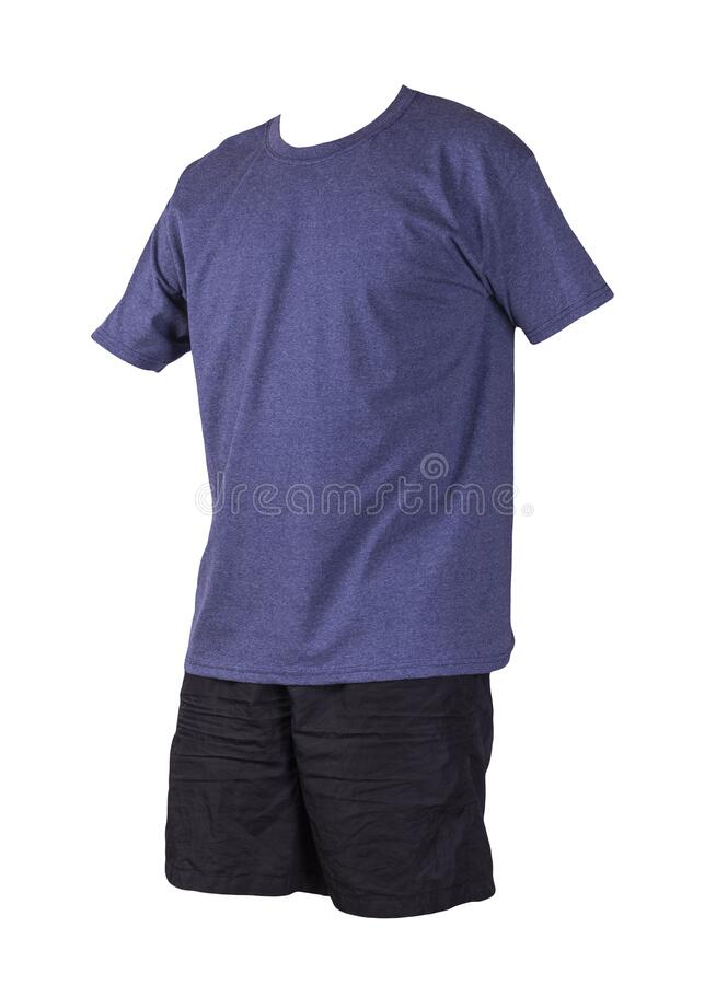 Free Men`s Sports Shorts And T-shirt Isolated On White Background Stock Images - 187994684
