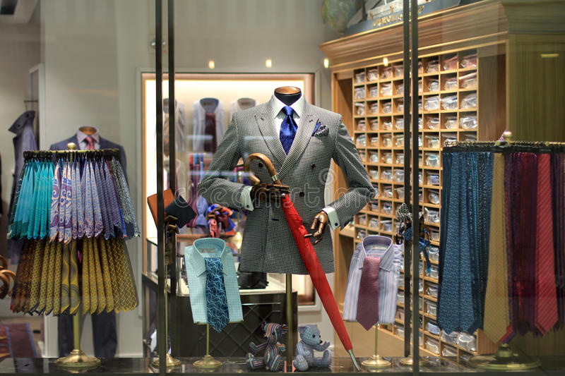 Men`s store display. Display of mannequin in a men`s clothing store royalty free stock images