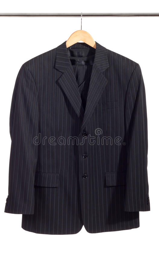 Men's suit on the rack stock photography
