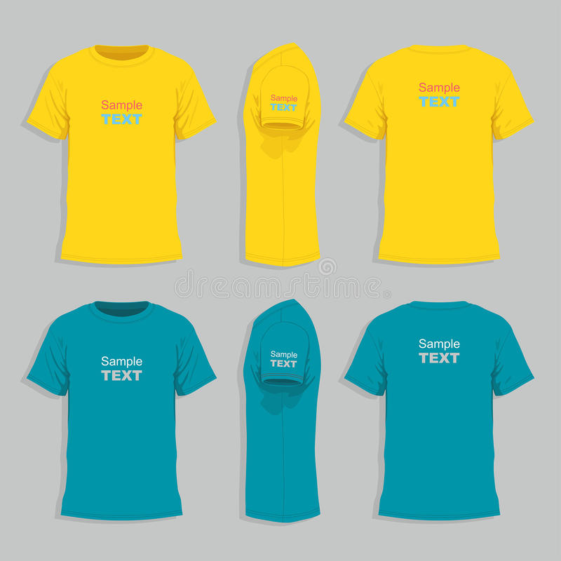 Men`s t-shirt design template. Front, back and side views of men`s t-shirt royalty free illustration