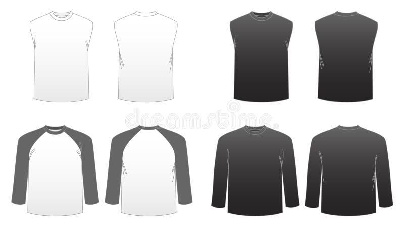 Men's T-shirt Templates-Series 3 stock illustration