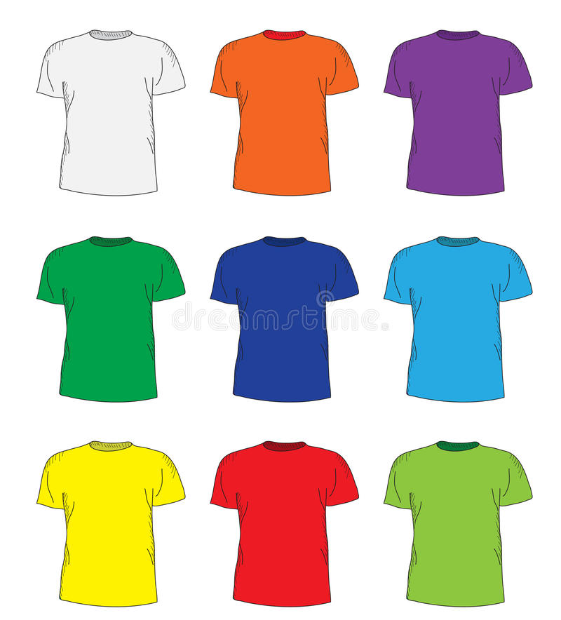 Men's t shirts design template set. Multi-colored T-shirts hand-drawing style. mockup shirts. Vector illustration.  stock illustration