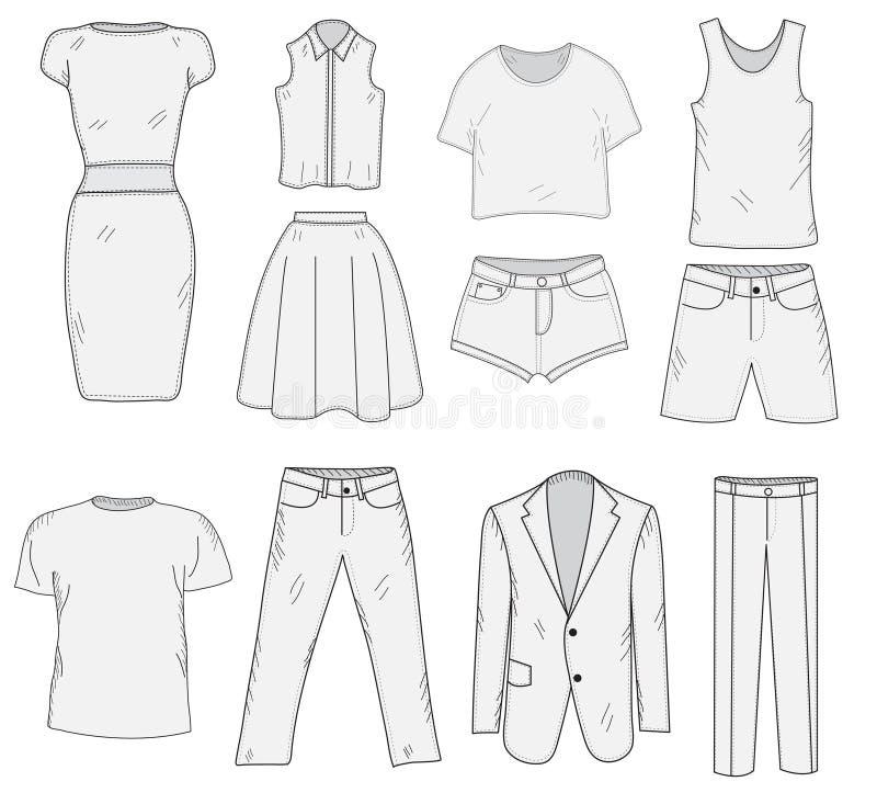 Men& x27; s und Women& x27; gesetzte Skizze s-Kleidungs Kleidung, Handzeichnung, Gekritzelart Kleidungsvektorillustration lizenzfreie abbildung