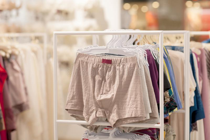 Men`s underwear in a boutique. Advertise, Sale and Fashion concept.  royalty free stock images