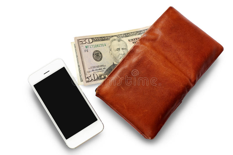 Men`s Wallet with Dollar cash and Mobile phone. stock image