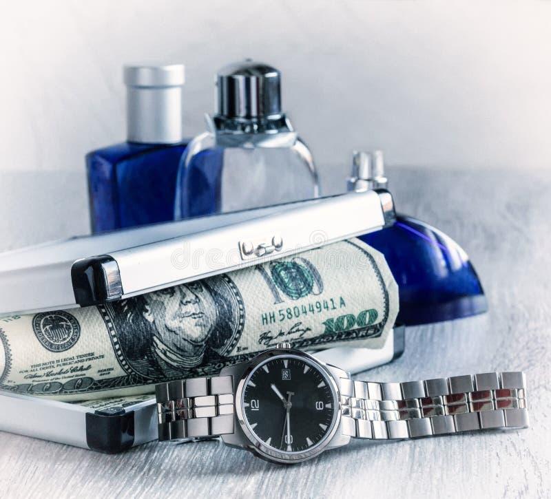 Men's watches, toilet water royalty free stock photos