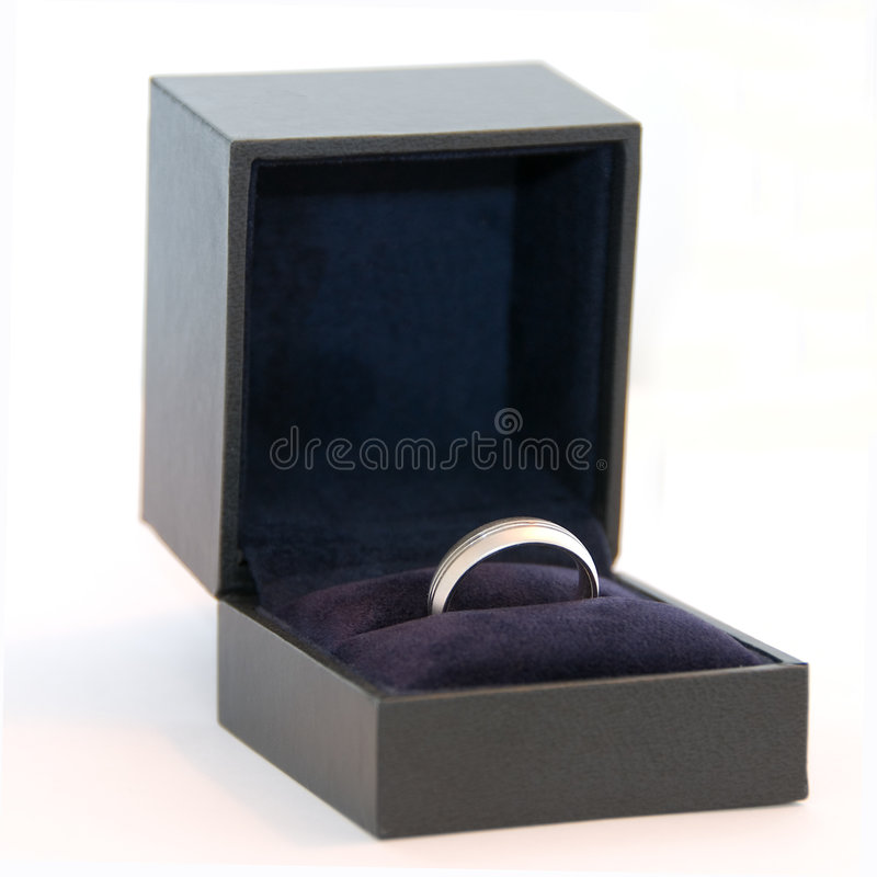 Men's wedding ring (white gold or platinum) stock photo