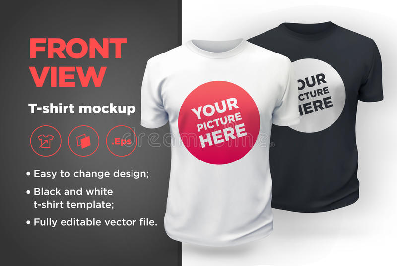 Men`s white and black t-shirt with short sleeve mockup. Front view. Vector template royalty free illustration