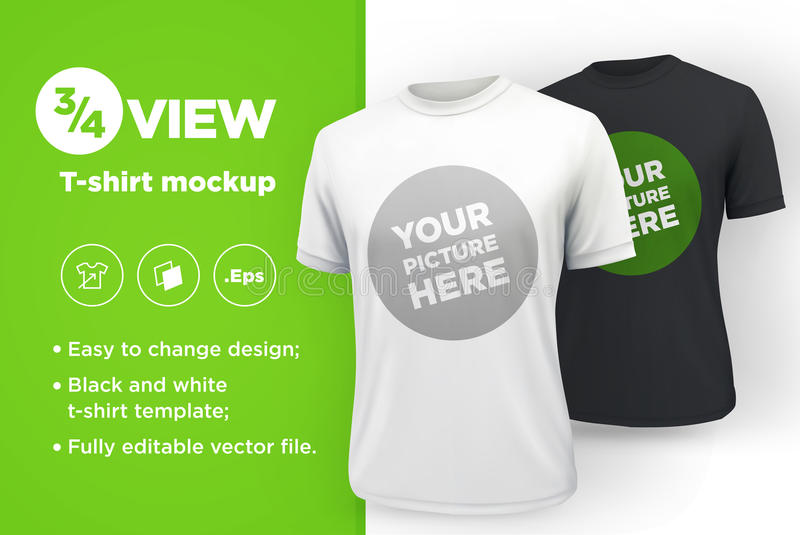 Men`s white and black t-shirt with short sleeve mockup. Front view. Vector template stock illustration