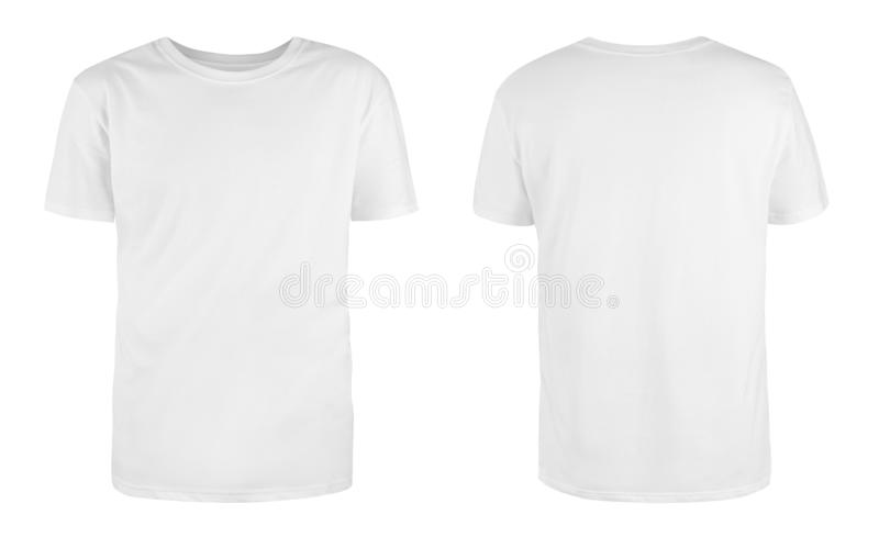 Men`s white blank T-shirt template,from two sides, natural shape on invisible mannequin, for your design mockup for print, isolat. Ed on white background royalty free stock photos