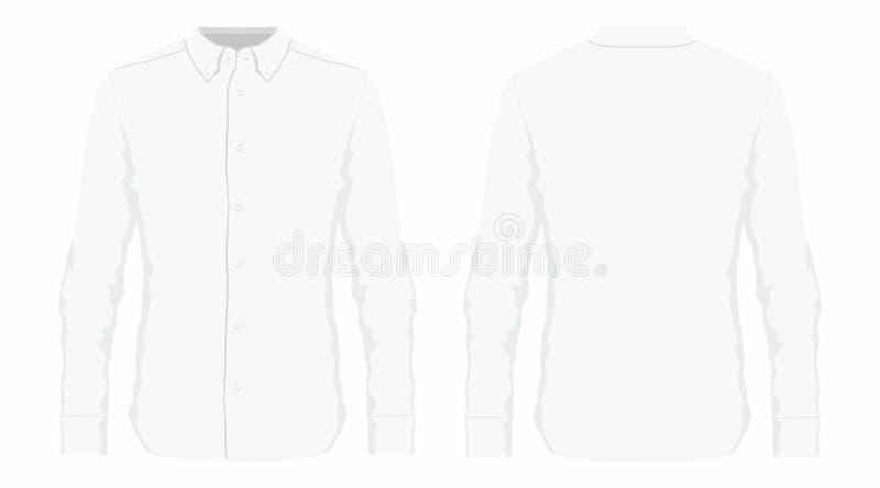 Men`s white dress shirt. Front and back views on white background stock illustration