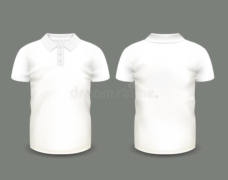 Men\'s White Polo Shirt Short Sleeve In Front And Back Views. Vector ...