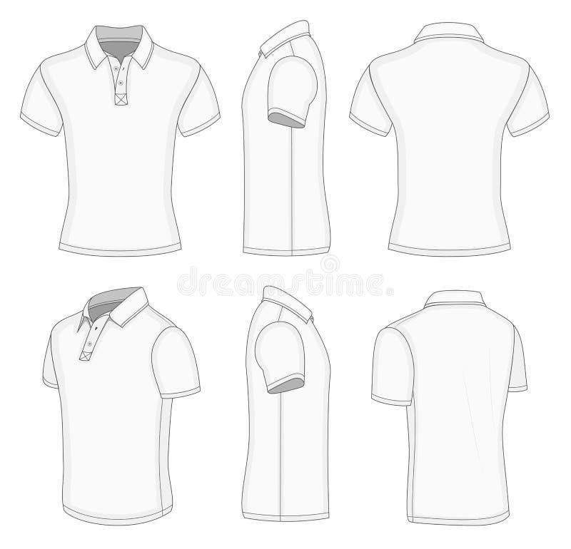 Men's white short sleeve polo shirt. stock illustration