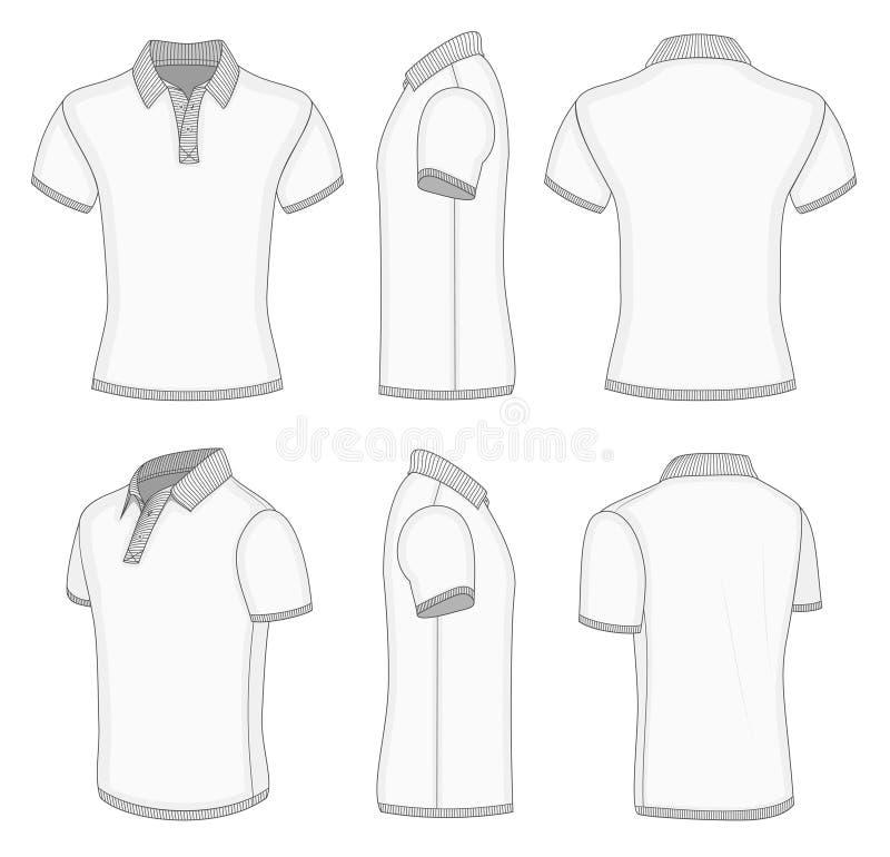 Men's white short sleeve polo shirt. royalty free illustration