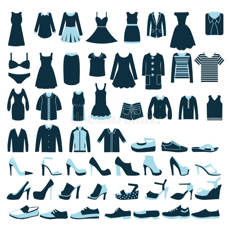 Mens And Women Clothes And Shoes Icons Illustrat Stock Vector Illustration Of Textile Sign