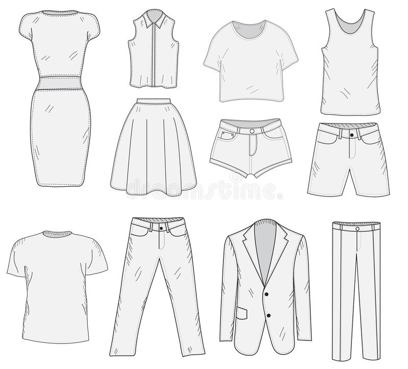 Men's and Women's Clothing set sketch. Clothes, hand-drawing, doodle style. Clothes vector illustration. Men's and Women's Clothing set sketch. Clothes, hand royalty free illustration
