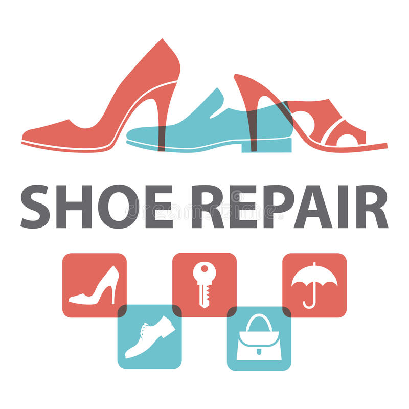 Men`s and women`s shoes, handbag, key, umbrella. Shoe repair signboard. Vector illustration vector illustration