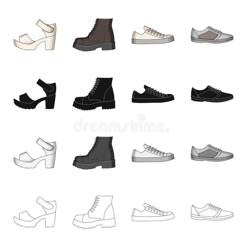 Men`s and women`s shoes. Different types of shoes set collection icons in cartoon black monochrome outline style vector royalty free illustration