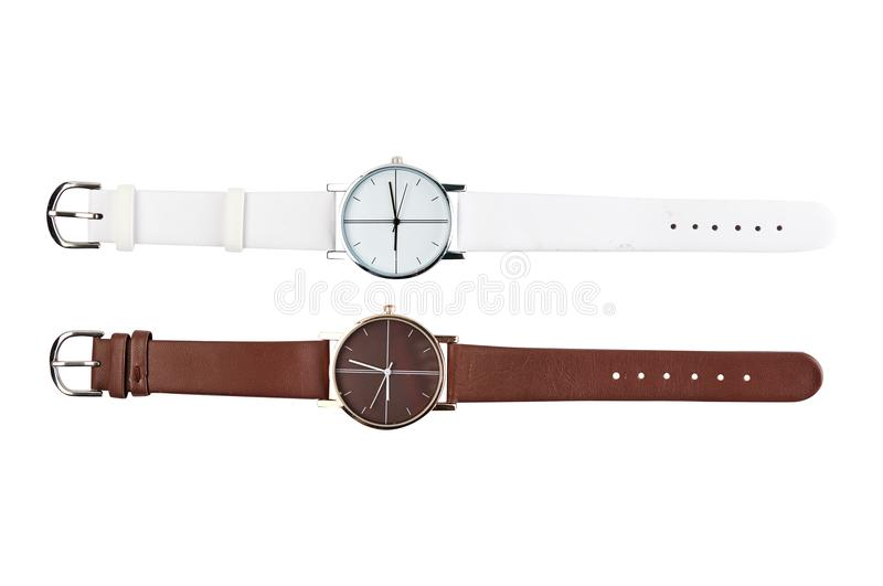 Men`s wrist watch. Fashion accessory. Leather belt. For your design. stock photo