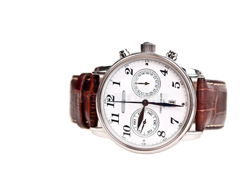 Men's wrist watch isolated on white background. Men's wrist watch isolated on white royalty free stock images