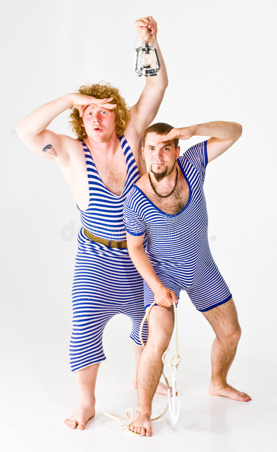 Men in Sailor Costumes. Two male actors wearing sailor costumes royalty free stock image