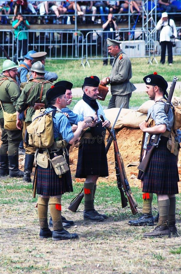 Men in Scottish kilts. stock photography