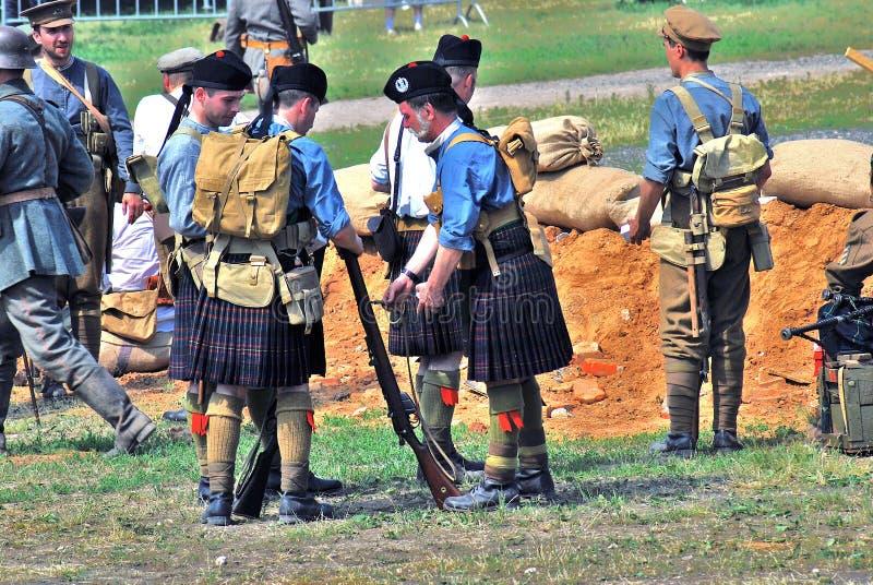 Men in Scottish kilts. stock photo
