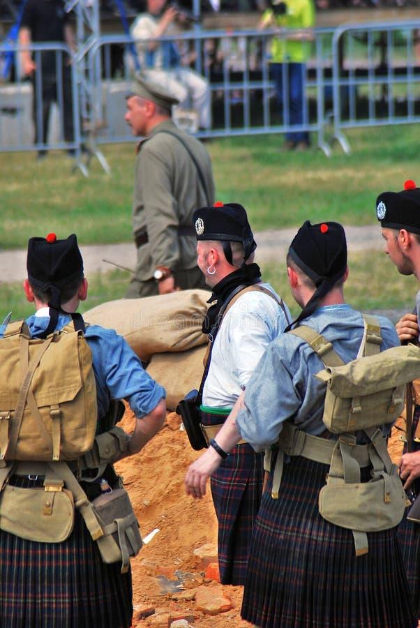 Men in Scottish kilts. royalty free stock photo
