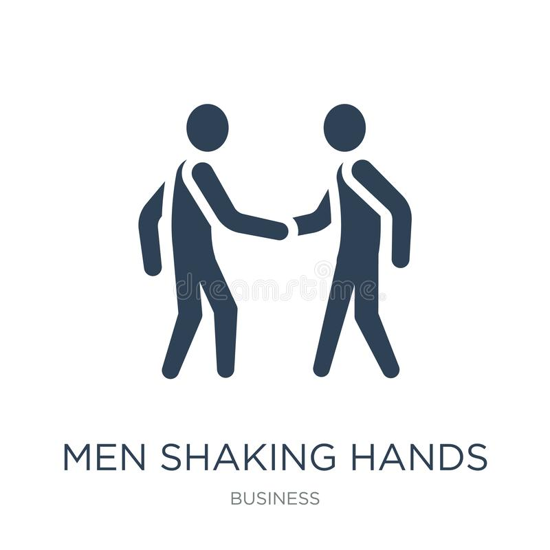 Men shaking hands icon in trendy design style. men shaking hands icon isolated on white background. men shaking hands vector icon. Simple and modern flat symbol stock illustration